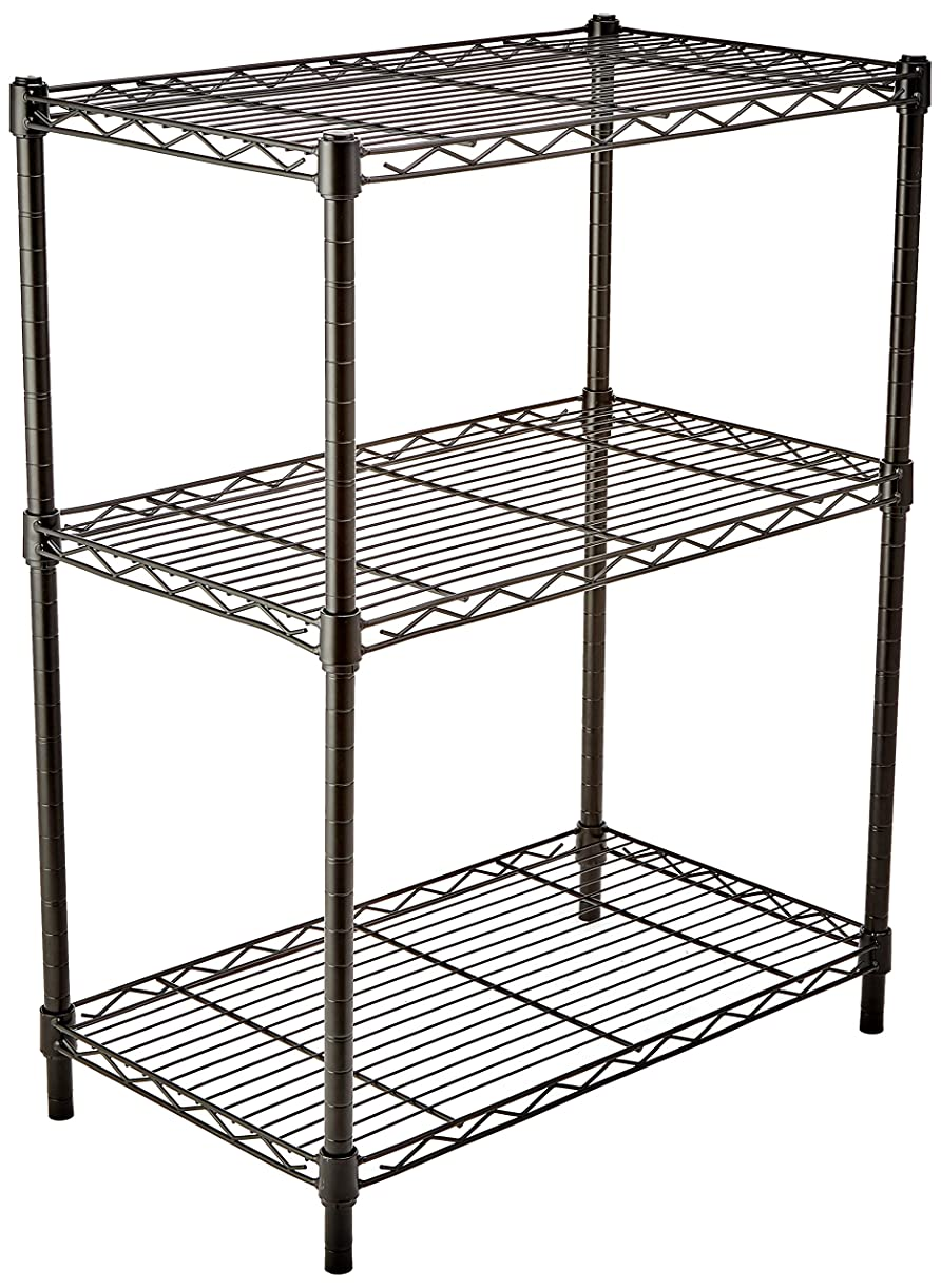 AmazonBasics 3-Shelf Shelving Storage Unit, Metal Organizer Wire Rack, Black icgzo1316