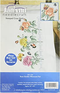 Janlynn Embroidery Kit Rose Garden Pillowcase Pair