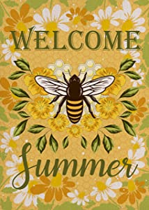 Covido Home Decorative Welcome Summer Garden Flag, Bee House Yard Lawn Honeycomb Decor Sign Flower Outside Decorations, Yellow Seasonal Farmhouse Outdoor Small Burlap Flag Double Sided 12 x 18