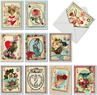 All Decked Out - 10 Assorted Boxed Valentines Day Cards with Envelopes (Small 4 x 5.12 Inch) - Vintage Happy Valentine's Greeting Notecards with Classic Floral Designs, Birds M2381VDG-B1x10