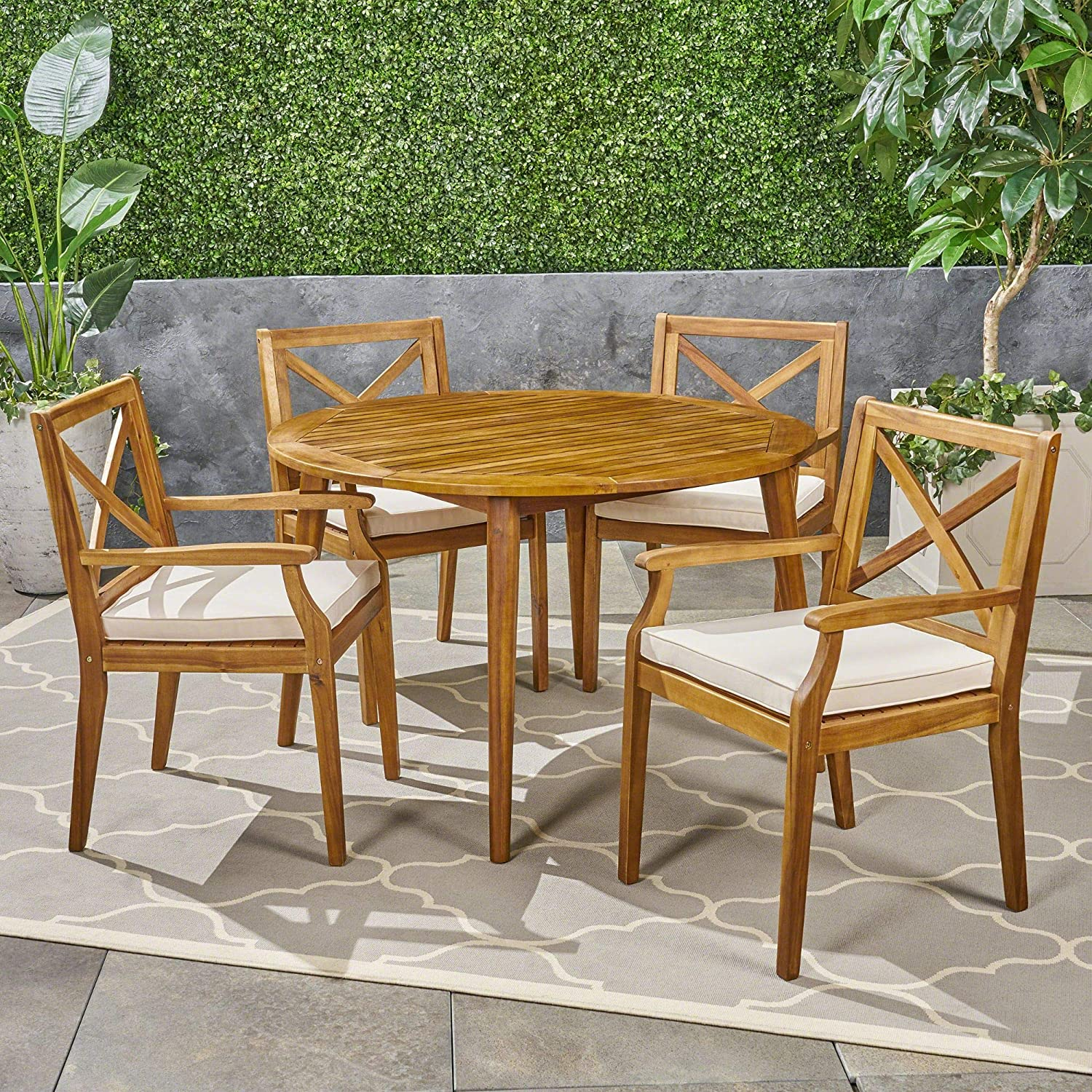 Contemporary Home Living 5-Piece Brown Finish quality assurance Round Free shipping anywhere in the nation Outdoor Teak