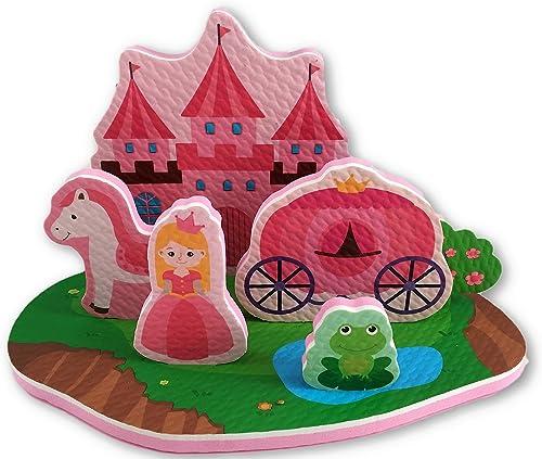 Princess Bath Toy - 7 Piece Foam Set With Storage Bag/Organizer/Holder - Educational Toy For Kids - Bathtub Fun