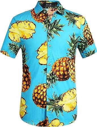 SSLR Camisa Manga Corta de Algodón Estampado de Piñas Tropical Estilo Hawaiano de Hombre