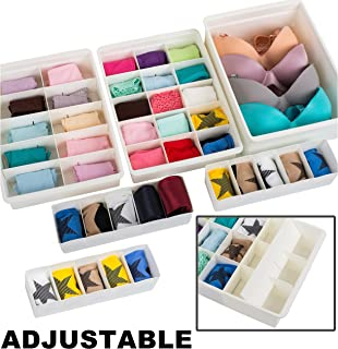 Uncluttered Designs Adjustable Drawer Organizers (6 Set) with Customizable Dividers in Stackable Durable Plastic for Underwear Crafts Baby Clothes Office Bathroom & Under Sink Storage