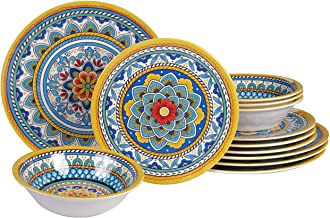 Certified International Portofino 12 piece Melamine Dinnerware Set, Service for 4, Multi Colored