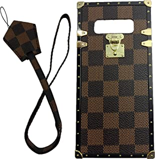 jiehao Samsung Galaxy Note 8 Case, Vintage Elegant Luxury Designer Lattice PU Leather Back with Lanyard Soft Bumper Shock Absorption Trunk Case for Galaxy Note 8 6.3