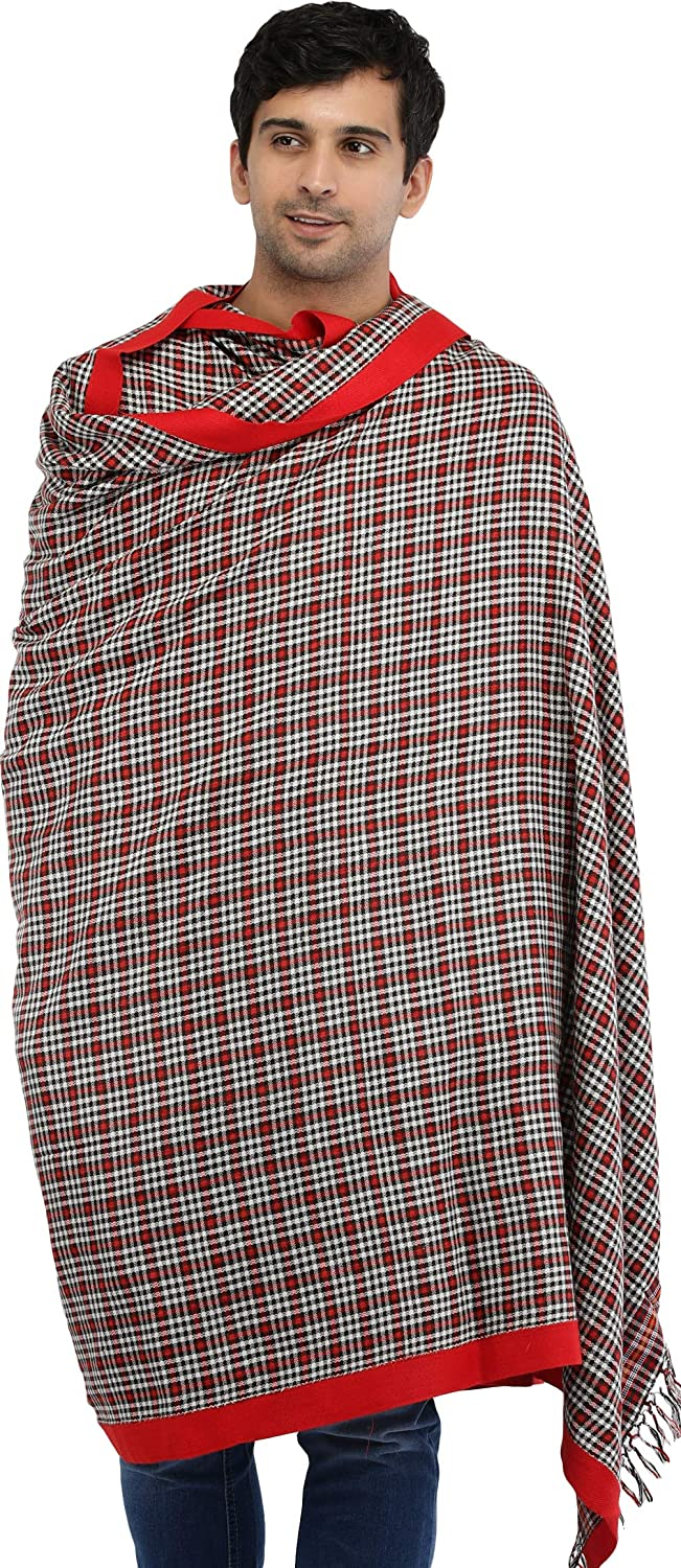 Exotic India Flames-Scarlet Plain Men's Shawl from Kullu with Woven Checks - Red