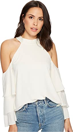 1.STATE - Mock Neck Cold Shoulder Blouse w/ Tiers