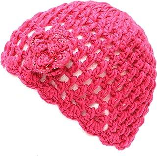 THE HAT DEPOT 700hat20 Women's Crochet Knit Beanie with Flower Decoration