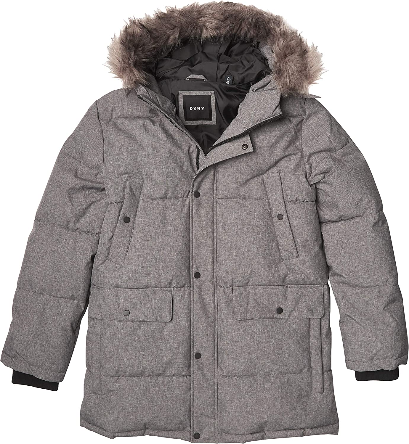 DKNY men's Sean Quilted Parka Jacket With Removable Faux Fur Hood