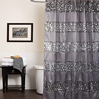 Sweet Home Collection Popular Bath Collection Bathroom Shower Curtain, 0, Sinatra Silver