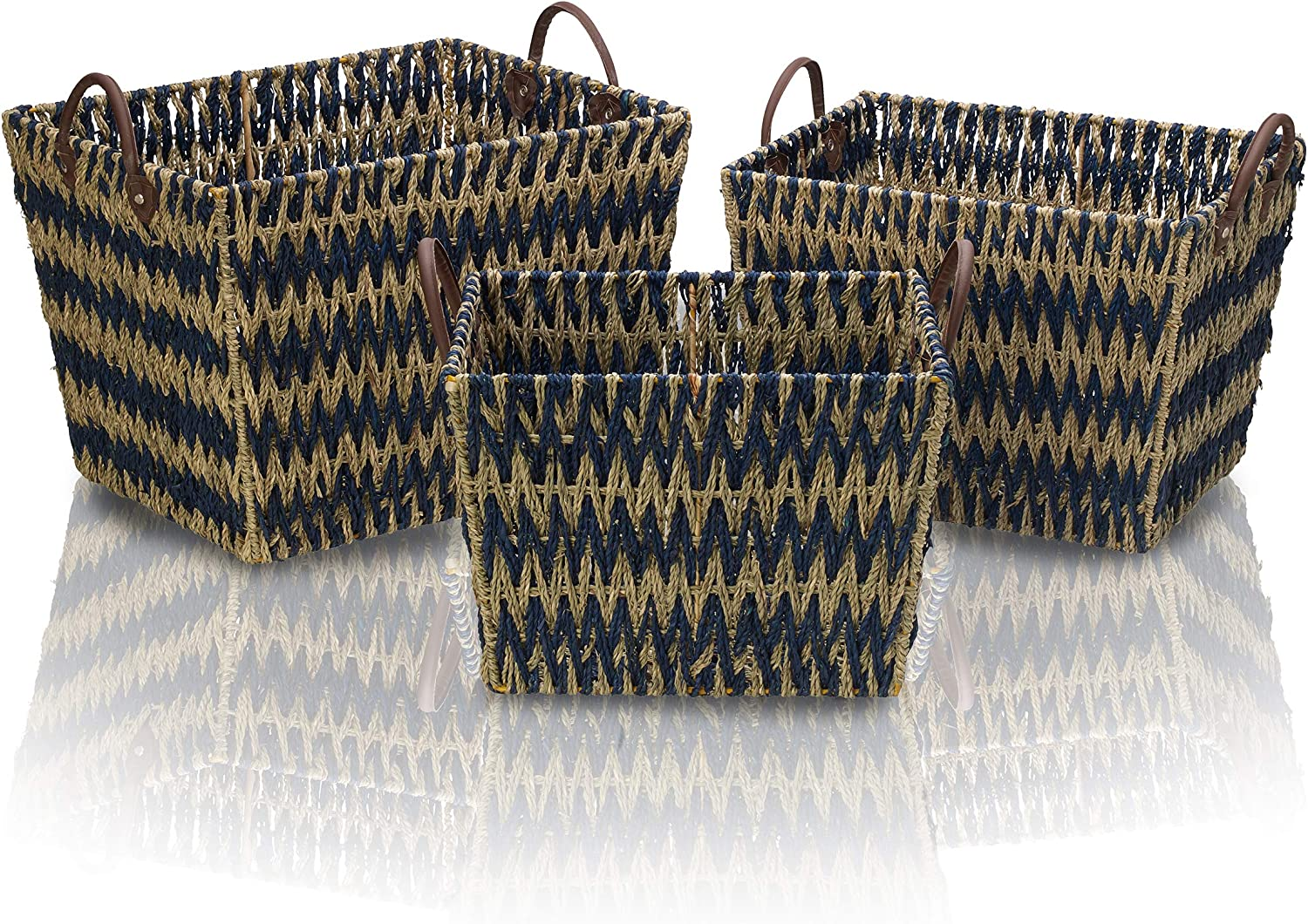 Scott New mail order Living Blue Bombing free shipping Chevron Seagrass Basket Assorted