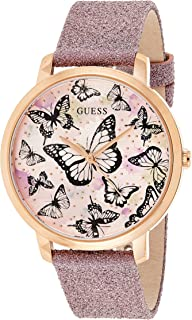 GUESS Women's Stainless Steel Analog Watch with Leather Calfskin Strap, Pink, 12 (Model: GW0008L2)