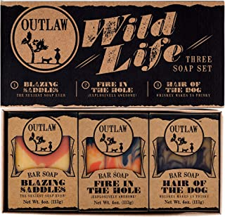 Outlaw Wild Life Homemade Natural Soap Gift Set - 3 Western-style Handmade Soaps in a Rustic Gift Box - The Ideal Gift for...