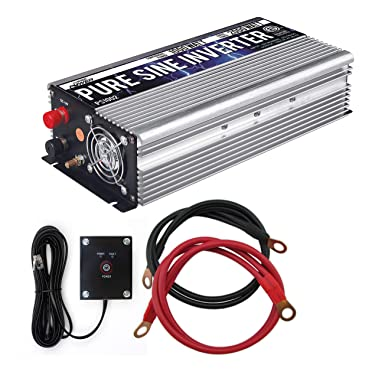 GoWISE Power 1000W Pure Sine Wave Inverter 12V DC to 120V AC with 2 AC Outlets + 1 5V USB Port, 2 Battery Cables, and Remote Switch (2000W Peak) PS1002