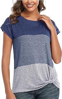 Womens Round Neck Triple Color T-Shirt