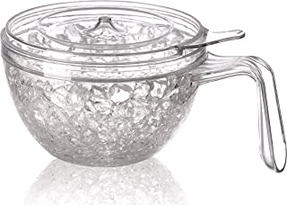 JF Mall Double Wall Gel Frosty Freezer Clear Salad Bowl With the handle