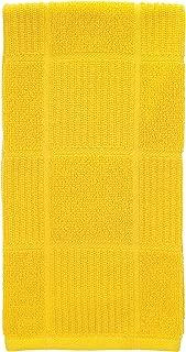 T-Fal Textiles 10943 Solid Color Parquet Design 100-Percent Cotton Kitchen Dish Towel, Lemon, Single