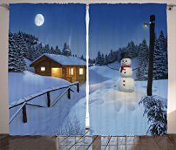 Ambesonne Christmas Curtains, Wooden Rustic Log Cottage Scenery in The Winter Season Warm Moonlight Spirit, Living Room Bedroom Window Drapes 2 Panel Set, 108
