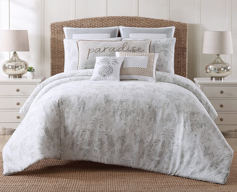 Amazon Com Oceanfront Resort Tropical Plantation Embroidered Cotton Duvet Cover Set King Home Kitchen