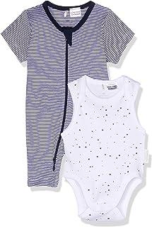 Purebaby S/Slv Growsuit Bodysuit Pack, Navy Stripe/White W Navy Star
