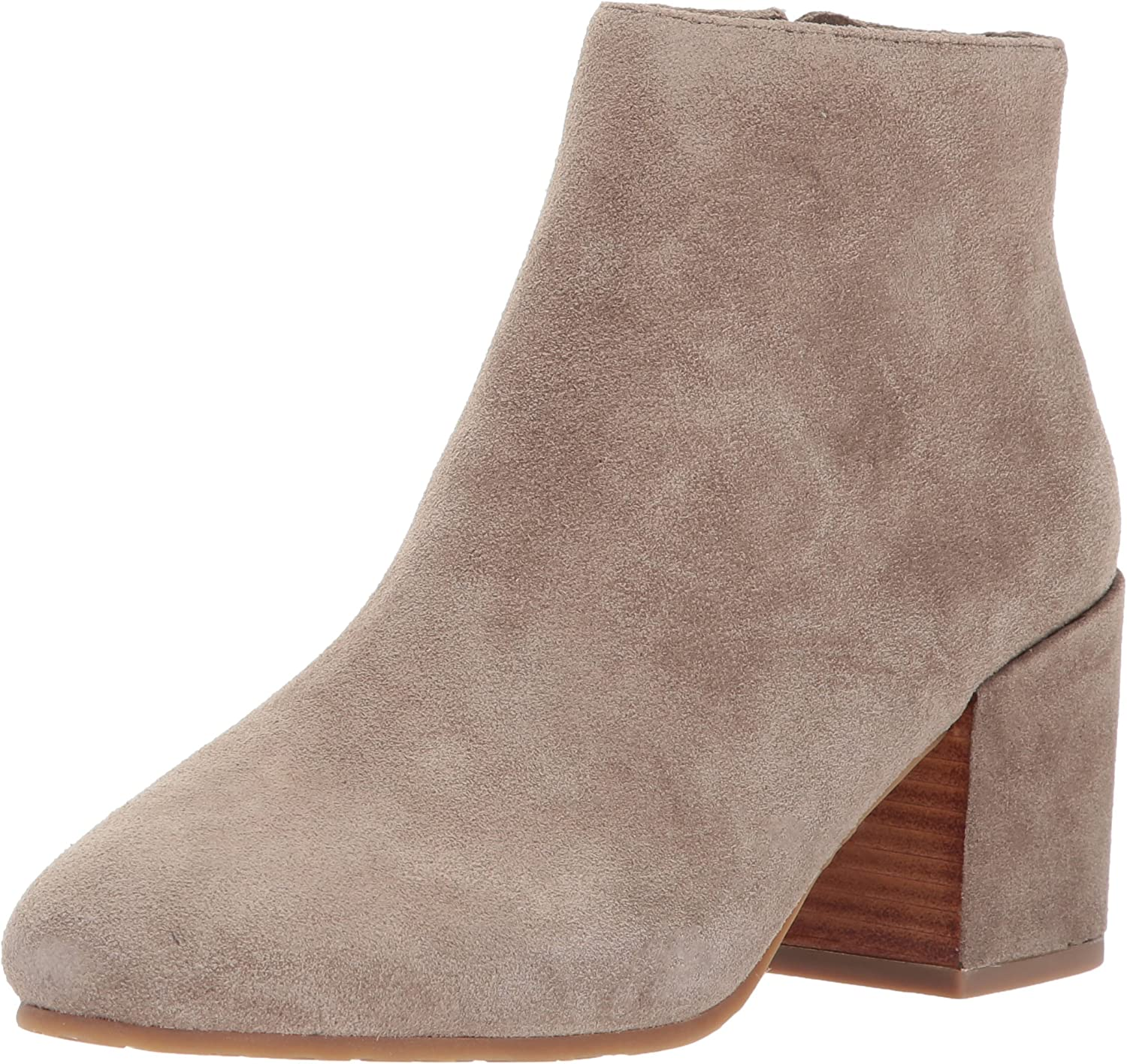 Gentle Souls Women's Blaise Ankle Bootie With Side Zip, Covered Block Heel Suede Ankle Boots