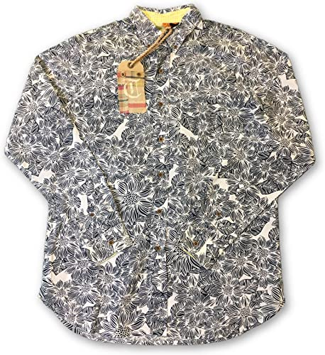 Tailor Vintage Shirt in blanc and Navy Floral - M