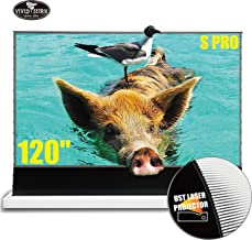 VIVIDSTORM Stand Floor Motorized Electric Screen UHD Laser TV Home Theater Projector 120 inch Ambient Light Rejecting Screen Movie or Office Presentation Portable Video Screen VWSDSTUST120H