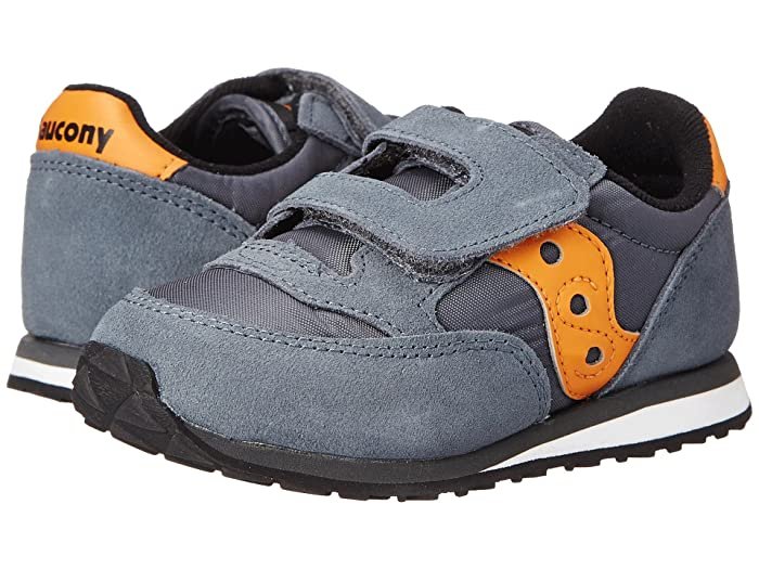 Saucony Kids  Originals Jazz Hook Loop (Toddler/Little Kid) (Grey/Orange) Boys Shoes
