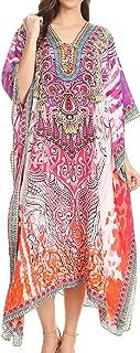 Sakkas Imani V-Neck Silky Lightweight Colorful Flowy Rhinestone Kaftan/Cover Up