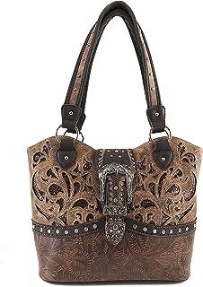 Justin West Western Studded Rhinestone Buckle Laser Cut Studded Shoulder Tote Handbag Purse Wristlet Wallet