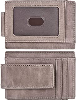 Money Clip, Front Pocket Wallet, Leather RFID Blocking Strong Magnet thin Wallet (One Size, A Wax Leather Grey)