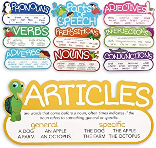 Juvale 10-Piece Parts of Speech Poster Bulletin Board Set for Classroom, 16 x 7.5 Inches