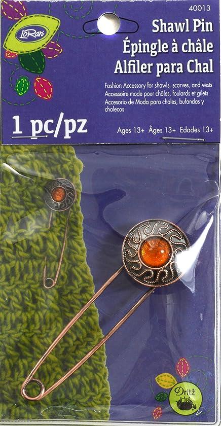 LoRan 40013 Metal Shawl Pin with Amber Stone