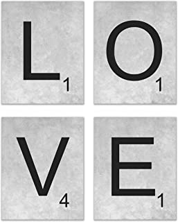 """Scrabble """"Love"""" Prints – Set of Four (4) Prints – Size 8""""x10"""" – Unframed Prints – Matte Finish – Great Addition to Any Home"""