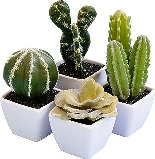 Sophia's Garden Set of 4 Artificial Succulent Plants with Pots – Realistic Greenery Mini Potted Faux Plant Arrangements | for Home Office Decor, Dorm Room, Bathroom, Kitchen Table Centerpieces