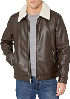 mens Classic Faux Leather Jacket With Removable Sherpa Collar