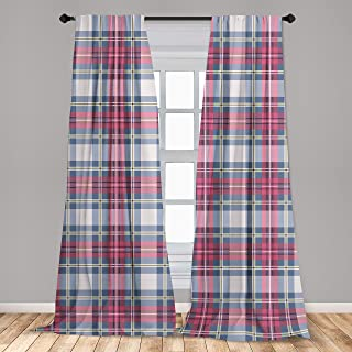 Ambesonne Plaid Curtains, Classical British Tartan Design with a Modern Look Pink and Blue Tile Pattern, Window Treatments 2 Panel Set for Living Room Bedroom Decor, 56