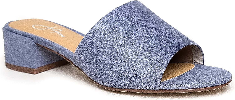 J. Adams Rudi Sandal Slide - Trendy Comfortable Open Toe Low Block Heel Slip On