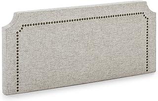 marckonfort Cabecero tapizado Leonor 140 x 60 cm Gris, Tachuelas en Color Marrón, Grosor Total 8 cm