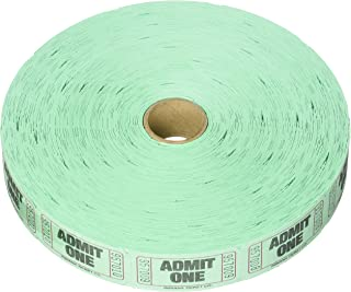 """Amscan Fun-Filled Admit One Green Ticket Roll, 1"""" x 2"""""""