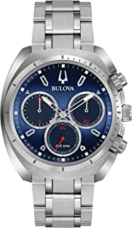 Bulova Men's Curv Collection Analog-Quartz Watch with Stainless-Steel Strap, Silver, 22 (Model: 96A185)