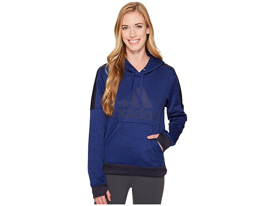 adidas Team Issue Fleece Pullover Logo Hoodie (Mystery Ink Melange/Noble Ink Melange/Mystery Ink) Women