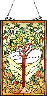 Chloe Lighting 20x32 Olea Tiffany-Glass Fruits of Life Window Panel, 20