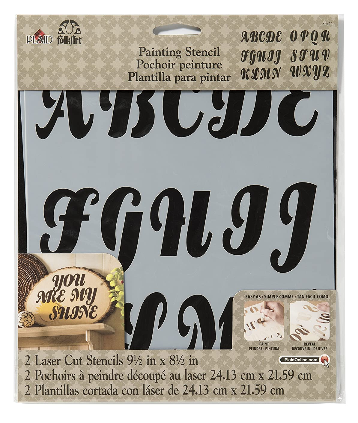 FolkArt Painting Stencil, 8.5 by 9.5-Inch, 30944 Alphabet Beverly
