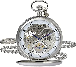 Charles-Hubert, Paris 3972-W Premium Collection Analog Display Mechanical Hand Wind Pocket Watch