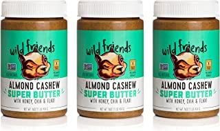 Wild Friends Almond Cashew Super Butter, 16 Ounce Jars (3 Count), with Honey, Chia & Flax, Gluten Free, Palm Oil Free