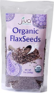 Jiva Organics Organic Flax Seeds Whole Raw 7 ounce bag - 100% Natural & Non-GMO