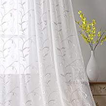 VISIONTEX White Sheer Curtains Purple Leaves Embroidery Faux Linen Rod Pocket Curtains for Living Room 54 x 84 Inch, Set of 2 Curtain Panels