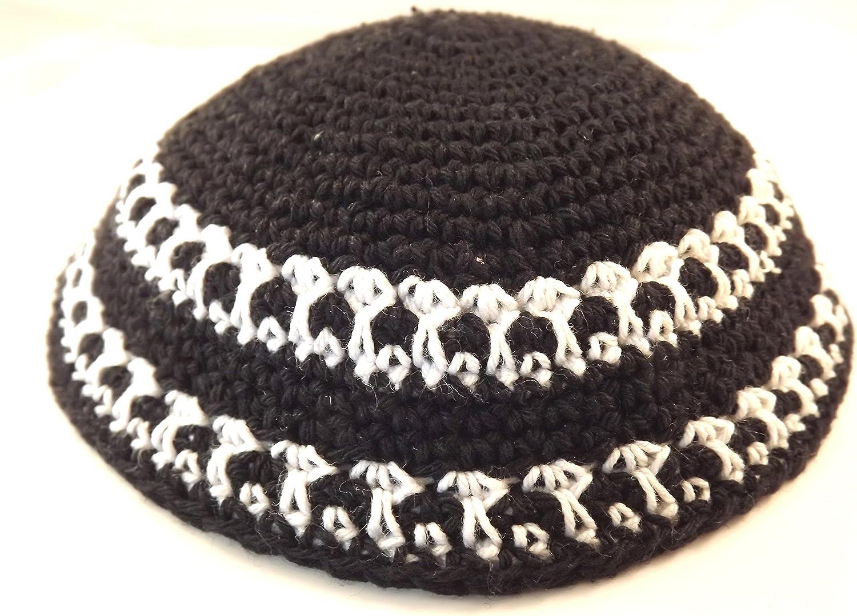 Black White Knitted Yarmulke 16 Kippah Omaha Mall Max 61% OFF Diameter Cm